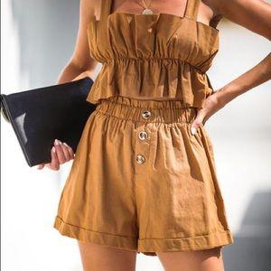 Camel Cuffed Linen Shorts